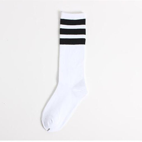 White Three Striped Socks