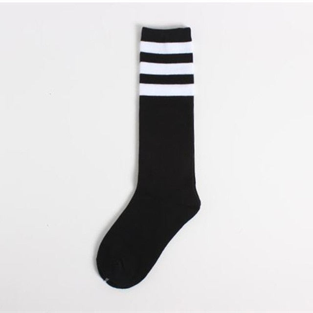 Black Three Striped Socks