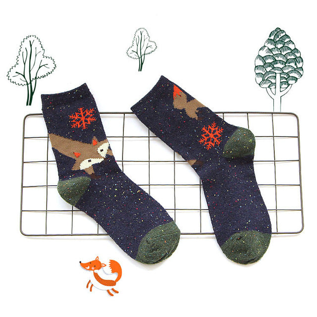 Green & Blue Fox Socks
