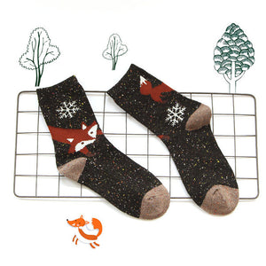 Dark Brown Fox Socks