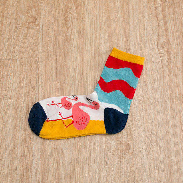 Flamingo Socks w/ Blue & Red Waves