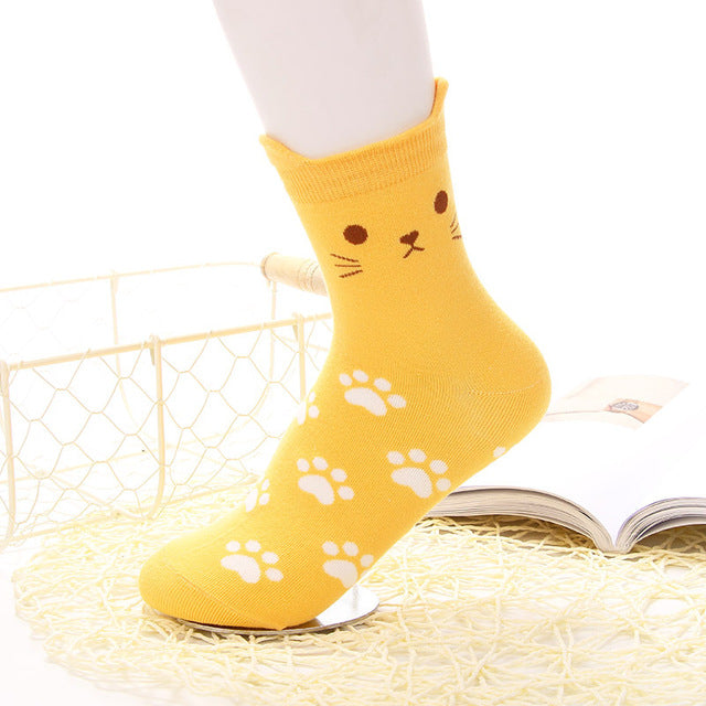 Yellow Cat Socks