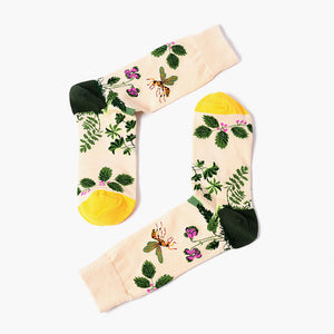 Beige Flower Socks