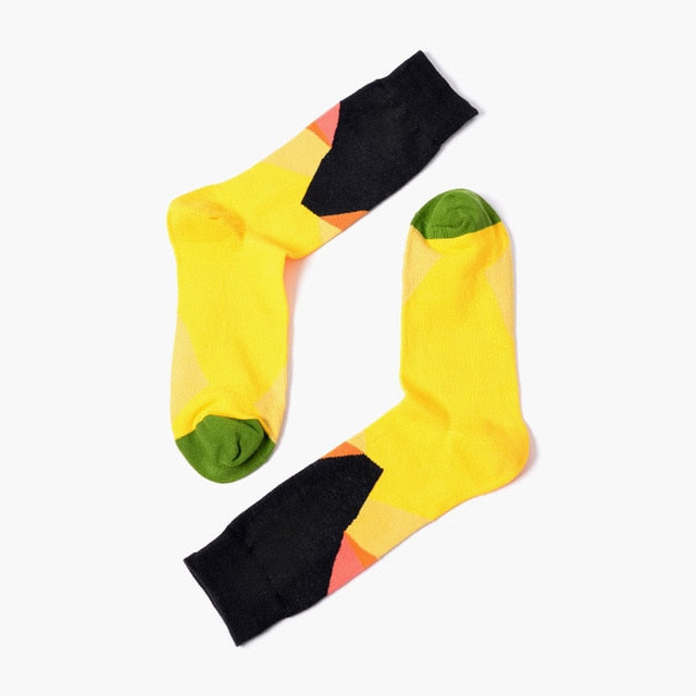 Yellow Geometric Socks
