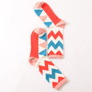 Red & Blue Zigzag Socks