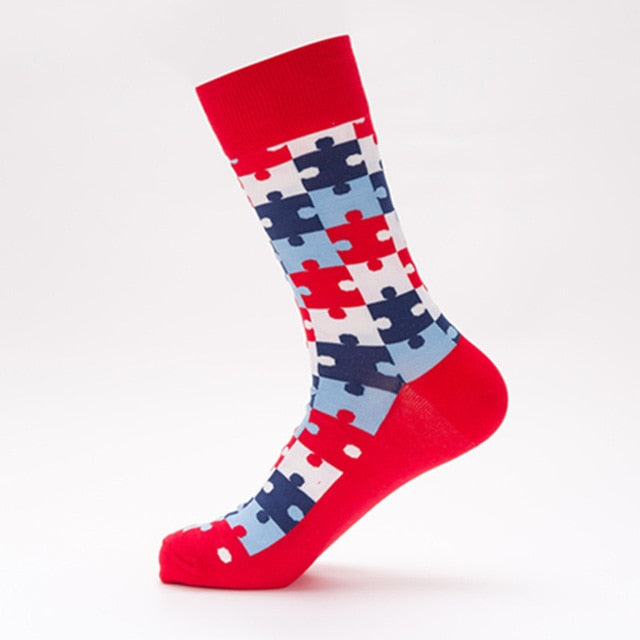 Red Puzzle Socks