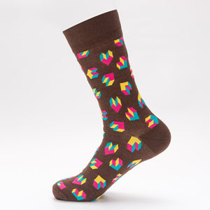 Brown 3D Shapes Socks