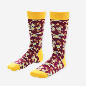 Yellow and Burgundy Socks