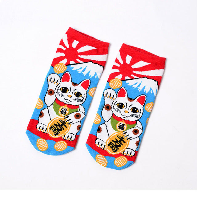 Japanese Lucky Cat Maneki-neko Socks