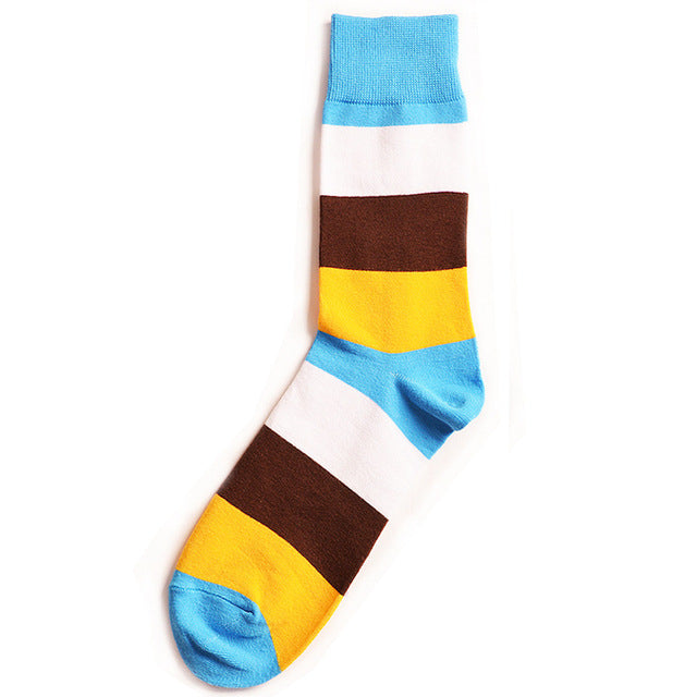 White, Brown & Yellow Striped Socks