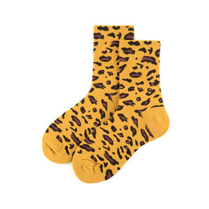 Yellow Leopard Print Socks