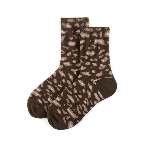 Black Leopard Print Socks