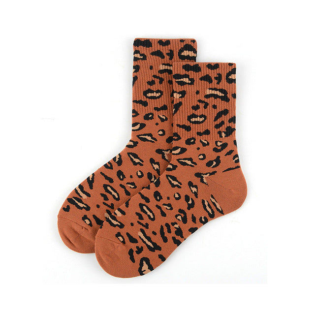 Dark Orange Leopard Print Socks