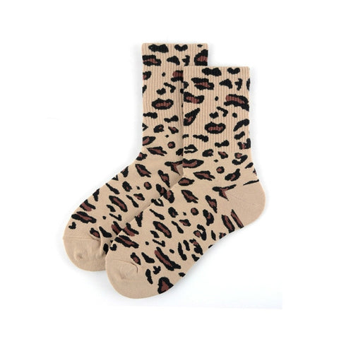 Image of Black Leopard Print Socks