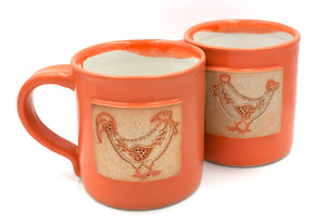 Hen and Rooster in Orange