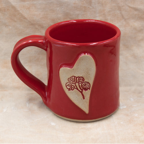bright red wildflower mug