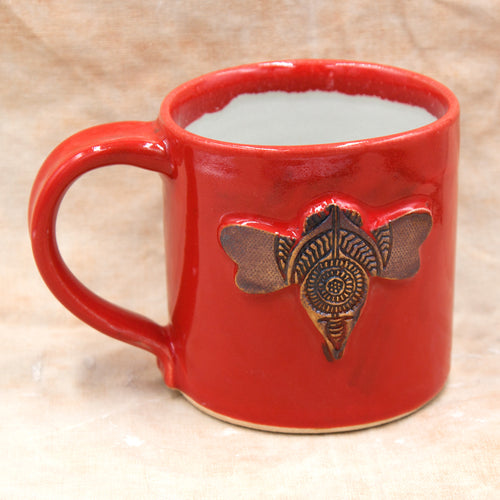 Red honey bee mug