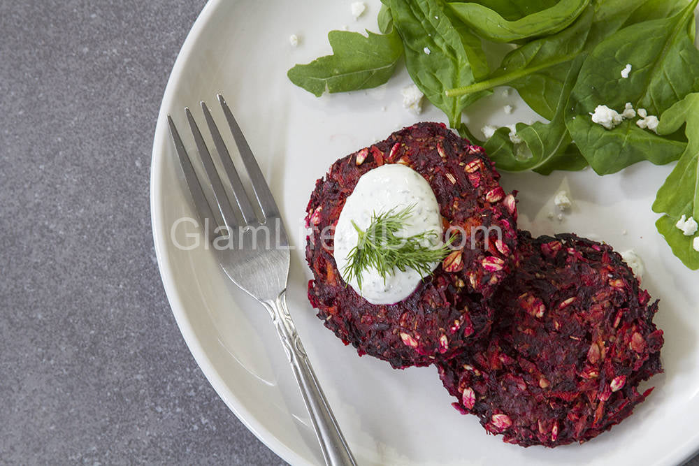 Baked Beet Fritters with Horseradish Dill Dip | Food Recipes Appetizers Party