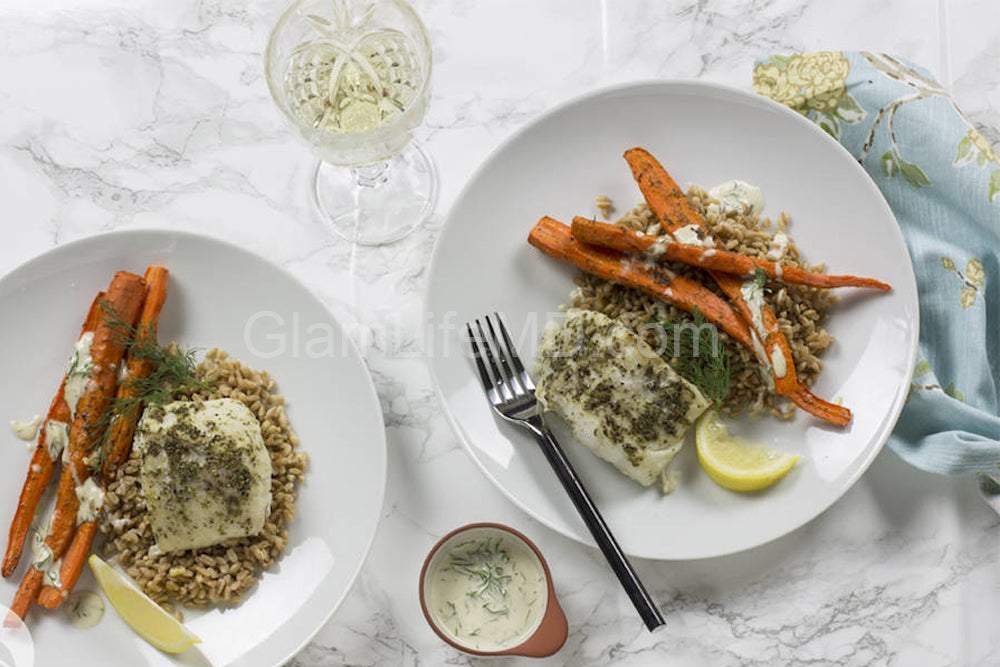 Cod with Farro & Roasted Carrots | Roast Recipes