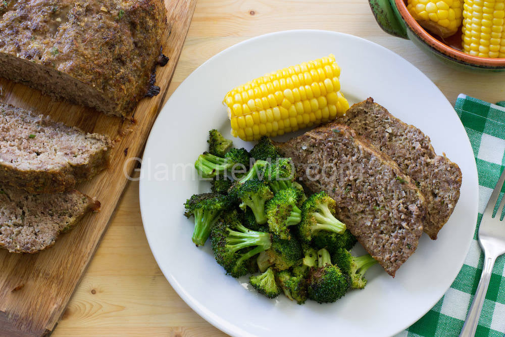 Meatloaf with Roasted Broccoli & Corn | Roast Recipes