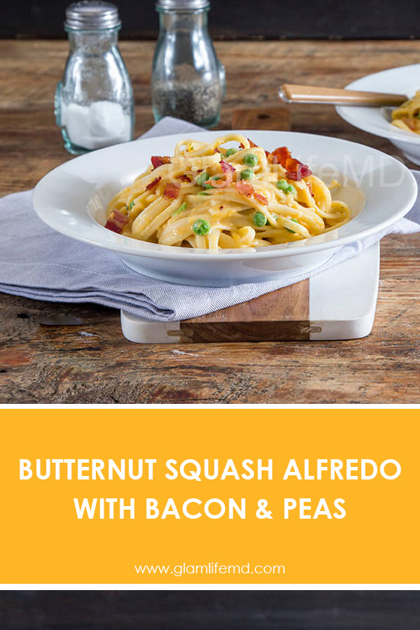 Butternut Squash Alfredo with Bacon & Peas | Easy Quick Lunch Recipes