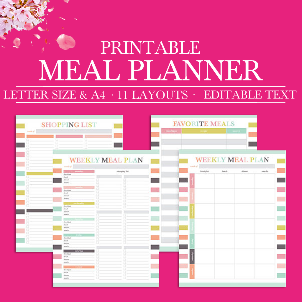 image regarding Printable Monthly Meal Planner identified as Weekly Supper Planner Printable, Regular monthly Evening meal Building, Grocery Record Printable Planner Inserts, Menu Browsing Checklist, Letter Dimension, A4