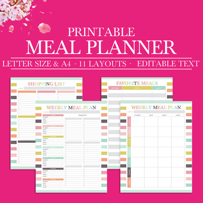 Weekly Meal Planner Printable, Monthly Meal Planning, Grocery List Printable Planner Inserts, Menu Shopping List, Letter Size, A4