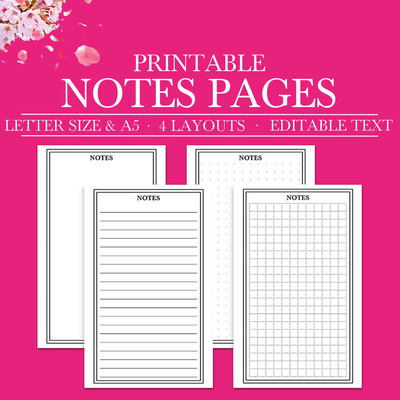 Notes Page Printable, Planner Page Notes, Printable Notepaper, Notes Planner Insert, Printable Planner Inserts, Half Size Planner, Half Page