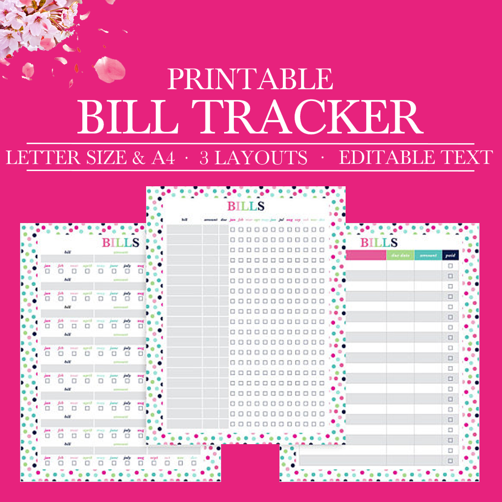 photo about Bill Tracker Printable titled Invoice Organizer, Invoice Planner, Invoice Spend Tracker, Monthly bill Shell out Organizer, Month to month Invoice Tracker Printable, Particular person Finance, Letter Sizing, A4