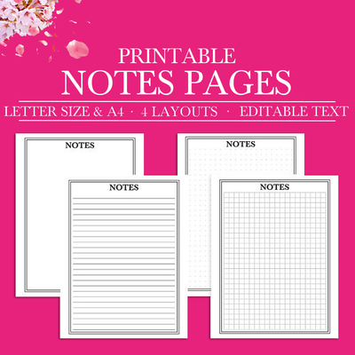 Notes Printable, Notes Printable Planner Inserts, A4,Letter, Binder Printable, Notes Binder Printable