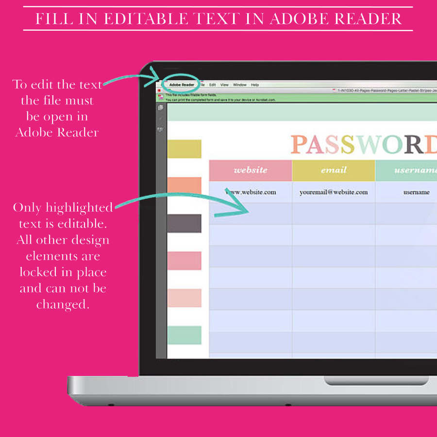 Password Keeper - Password Log - Password Printable - Password Organizer - Password Tracker - Password Book - Letter Size Planner Insert