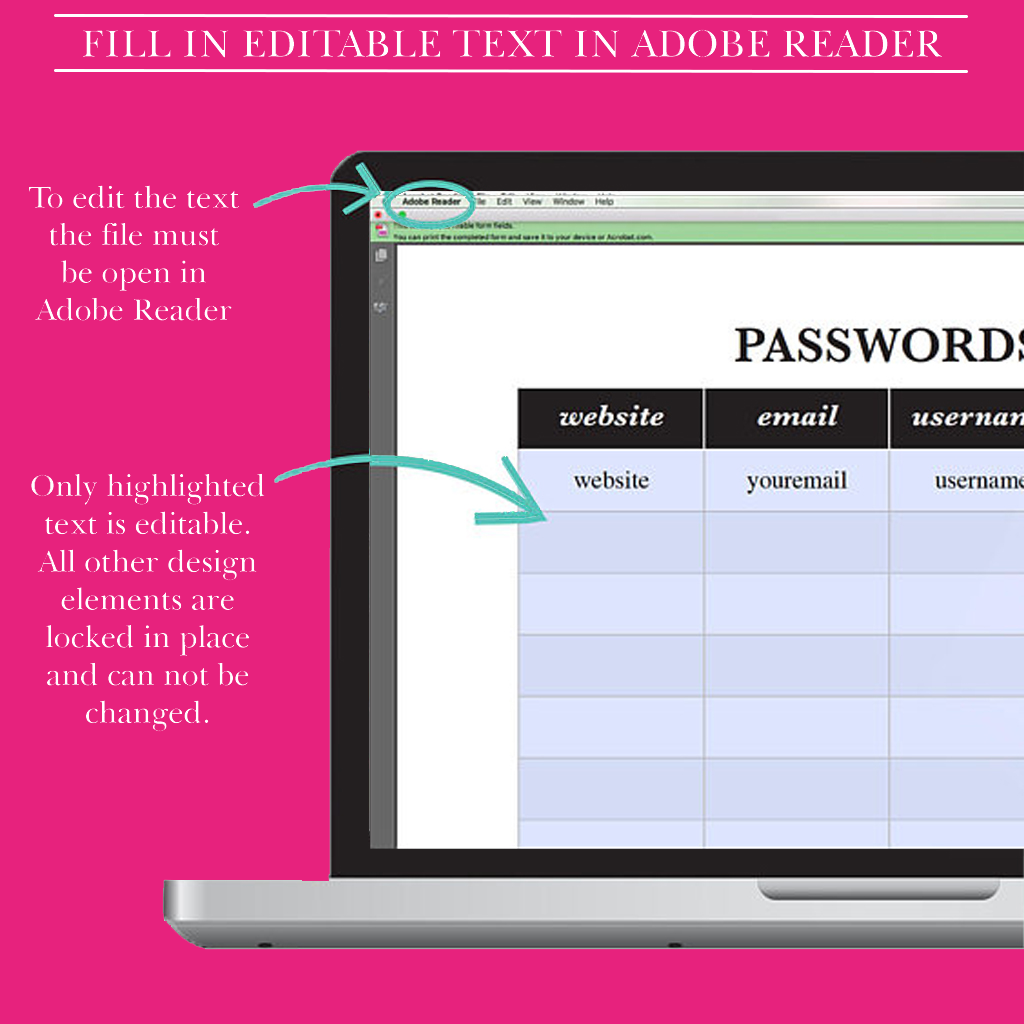 photograph relating to Printable Password Keeper called Pword Organizer, Pword Keeper Printable, Pw