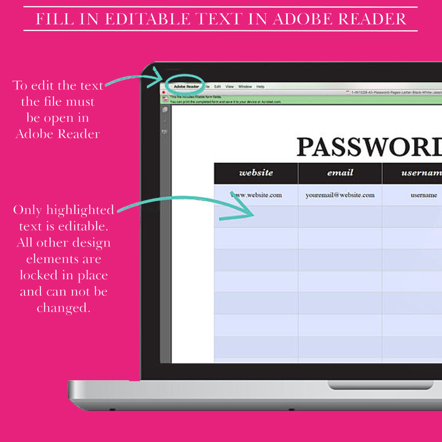 Password keeper printable,black and white,password organizer,log,book,tracker with A4 and Letter size