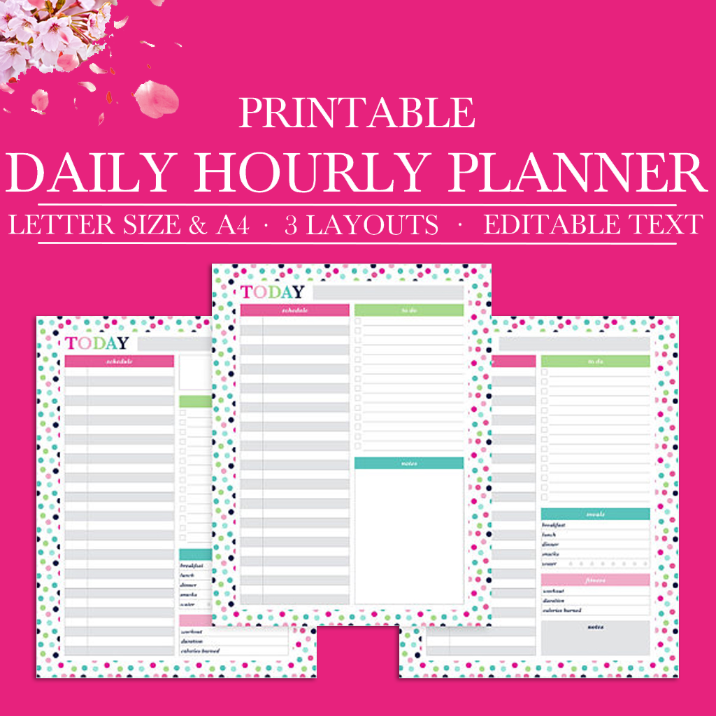It is an image of Hourly Planner Printable pertaining to small daily planner