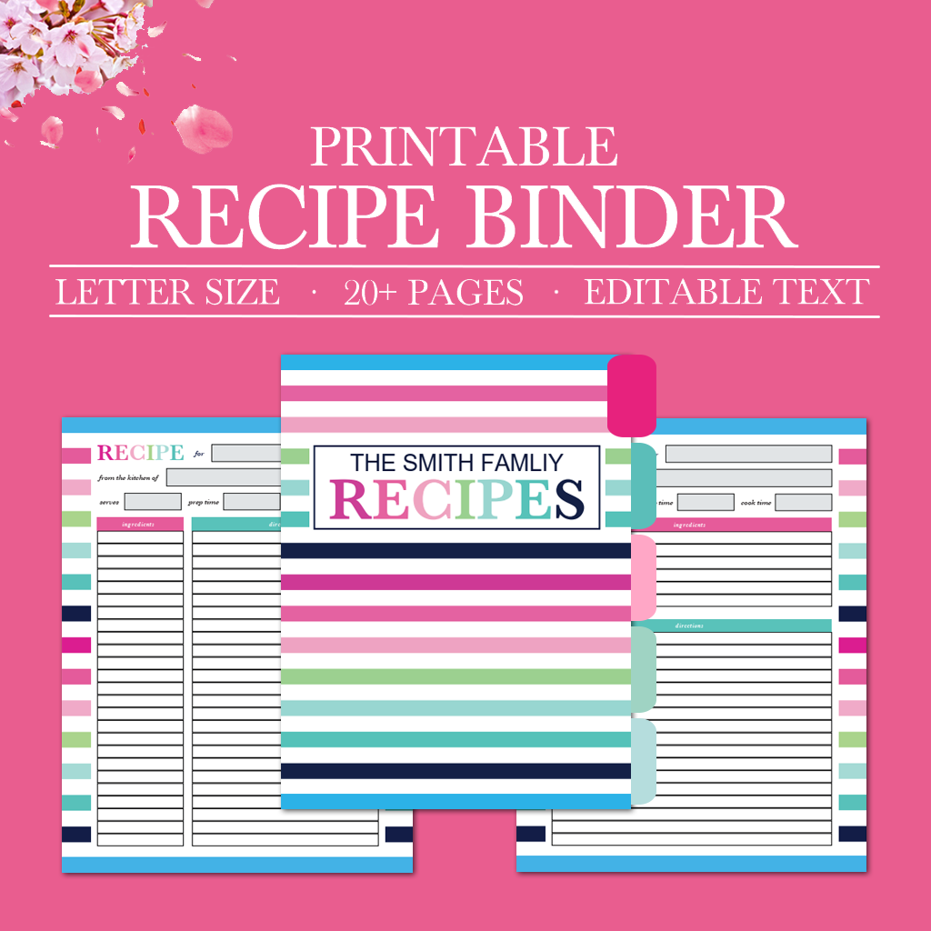 graphic regarding Printable Recipe Pages named Printable Recipe Binder Package, Tailored Relatives Recipe Binder, Recipe Web pages, Recipe Organizer, Do-it-yourself Recipe Binder Printable, Recipe Template