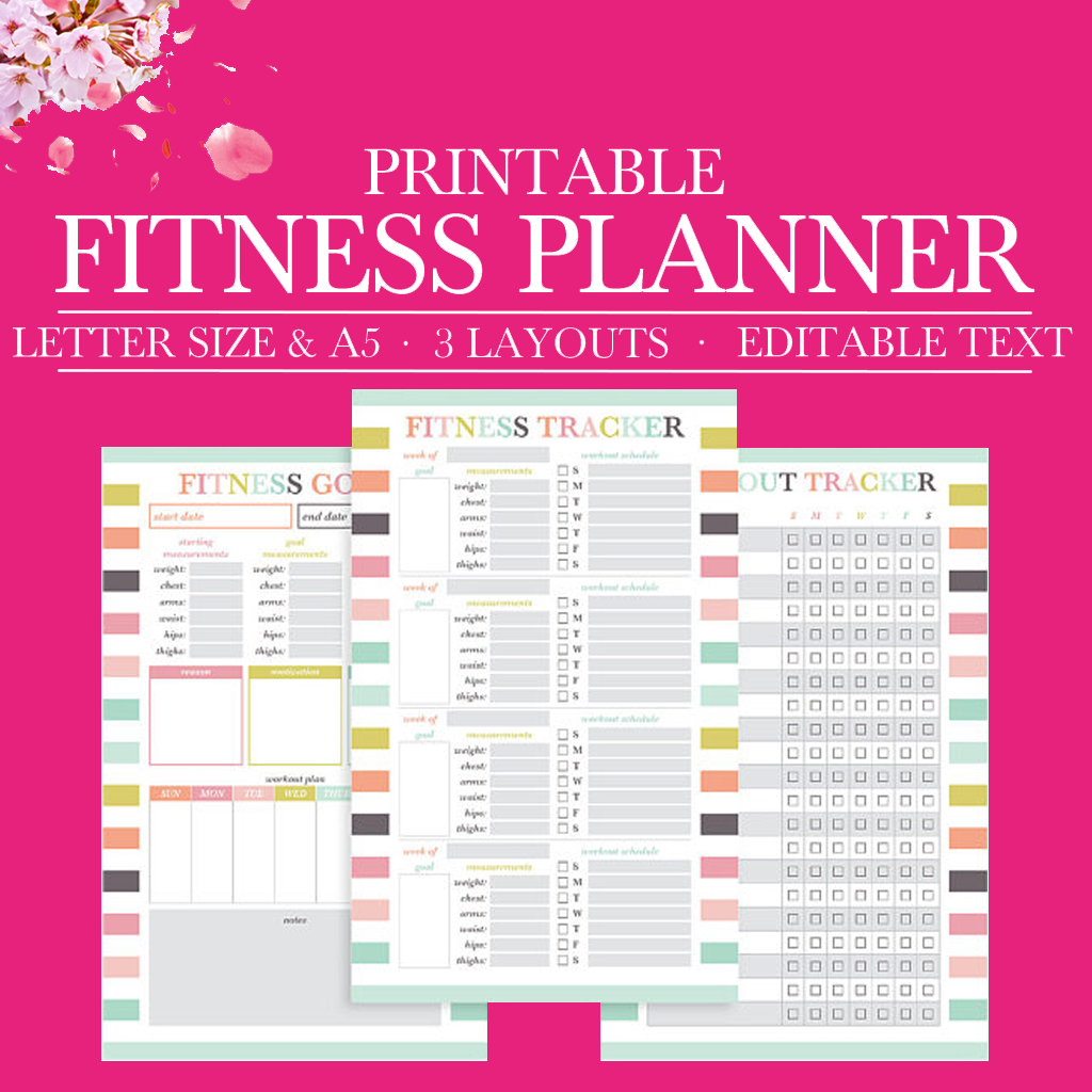 graphic relating to Printable Workout Journals titled Health and fitness Magazine, Conditioning Printable, Physical fitness Planner PDF, Health and fitness Log, Health Tracker, Work out Planner, 50 % Letter Planner Printable, A5