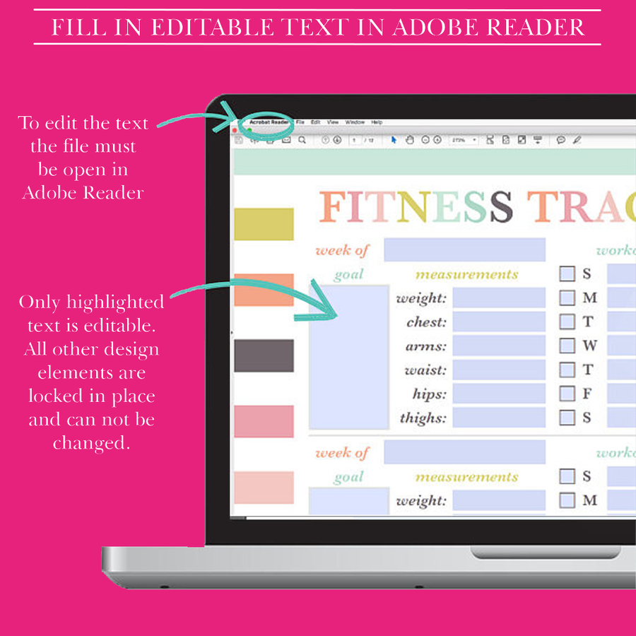 Fitness Journal, Fitness Printable, Fitness Planner PDF, Fitness Log, Fitness Tracker, Workout Planner, Half Letter Planner Printable, A5