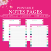 Notes Printable pages,Planner Page Notes,Notes Planner Insert,Notes Pages Printable Planner Insert,Printable Notepaper Letter size And A4 Size