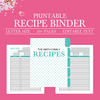 Personalized Recipe Book Binder, Family Recipe Binder Kit, Printable Recipe, Editable Recipe, DIY Recipe Binder Printable, Recipe Template