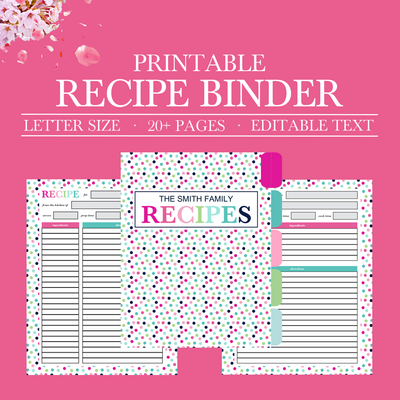 Printable Recipe Binder Kit, Personalized Family Recipe Binder, Recipe Pages, Recipe Organizer, DIY Recipe Binder Printable, Recipe Template