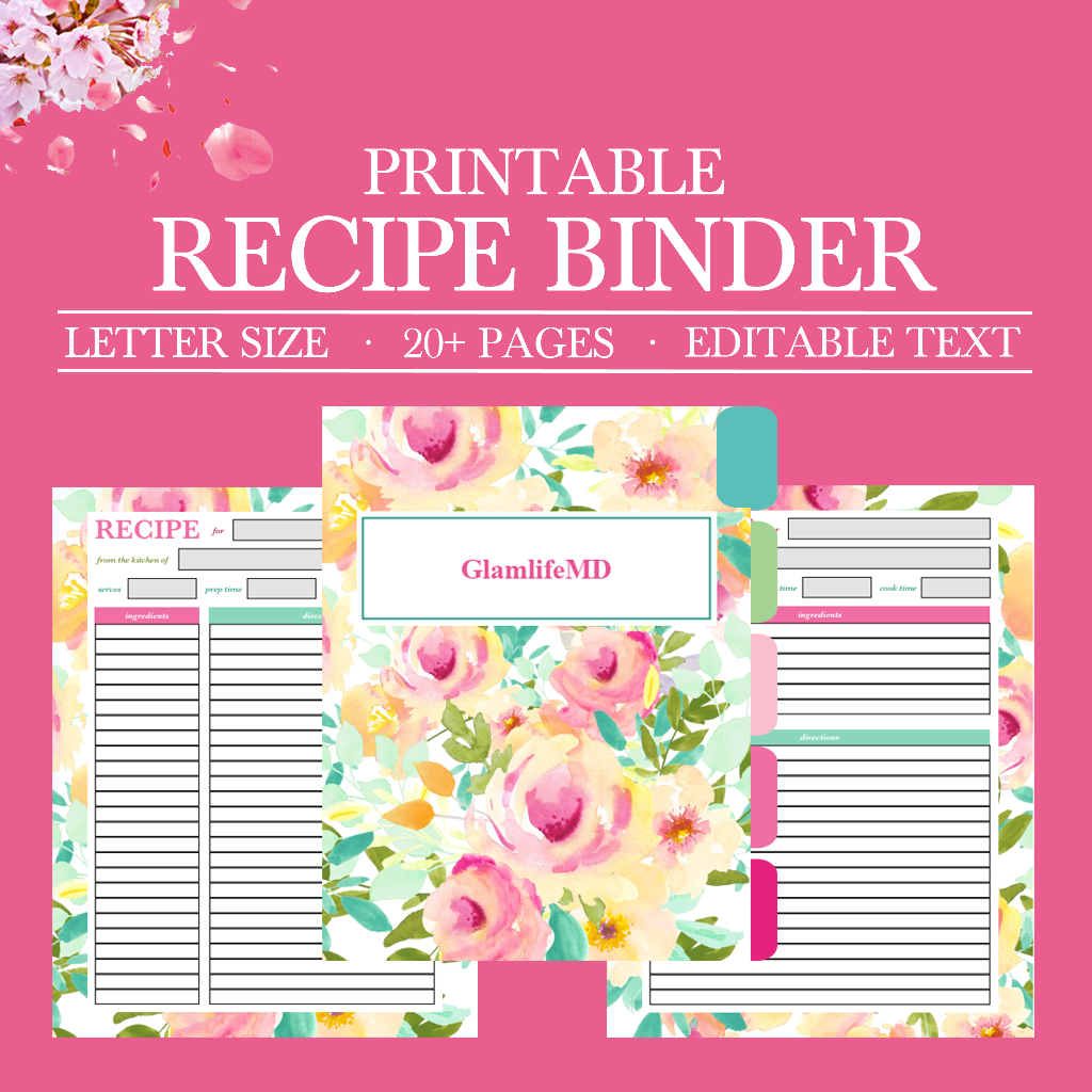 This is an image of Free Printable Recipe Binder Kit regarding template