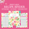 Family Recipe Binder Kit, Personalized Recipe Book Binder, Printable Recipe, Editable Recipe, DIY Recipe Binder Printable, Recipe Template