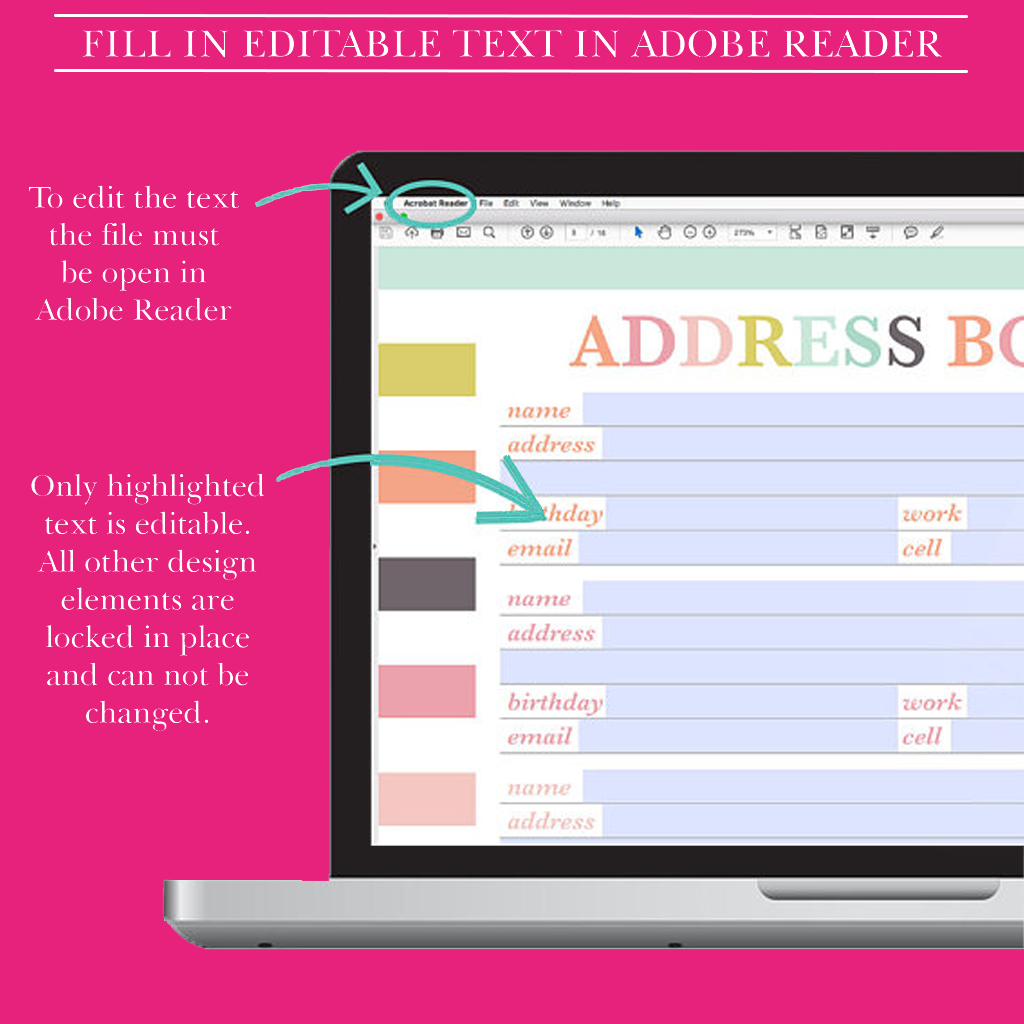 Address Book Printable, Contact Page, Address Page,