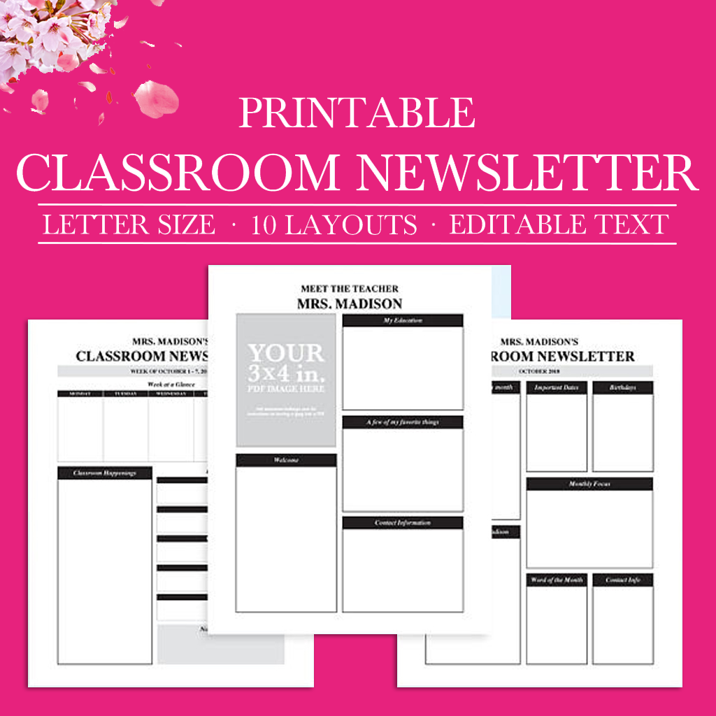 Classroom Newsletter, Classroom Organization, School Newsletter Template,  Classroom Printables, Teacher Organization, Teacher Printable, PDF