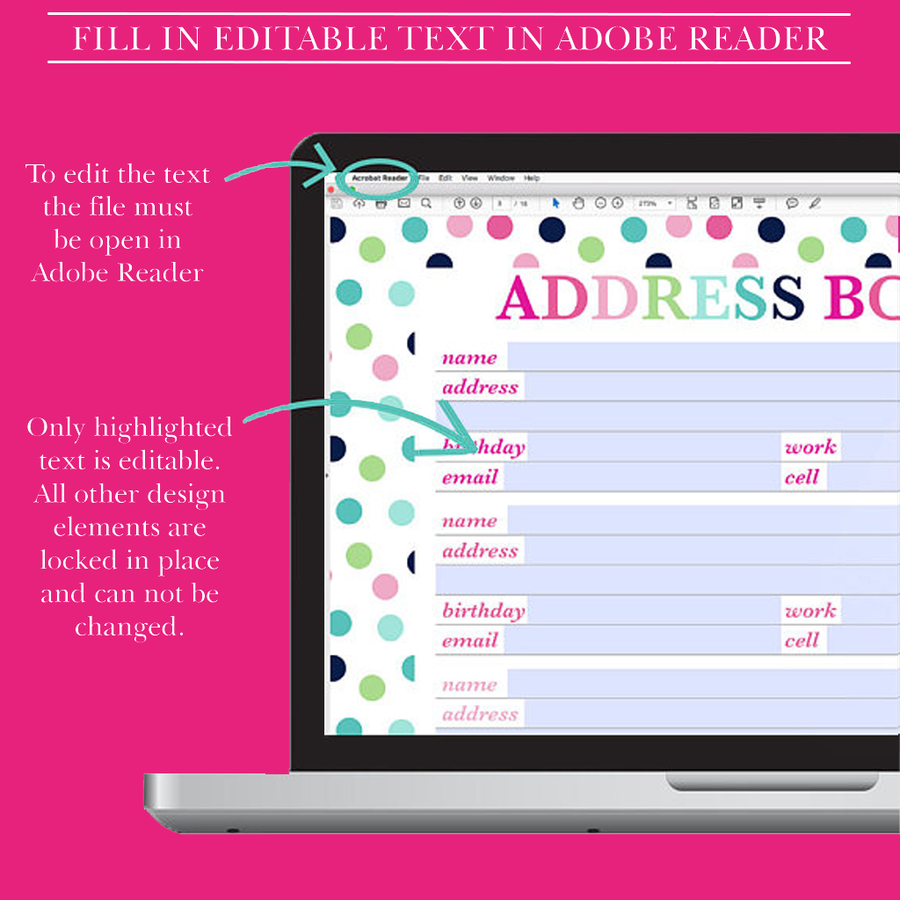 Address Book Printable, Contact Page, Address Page, Contacts Printable, Contact List, Printable Planner Inserts, Half Letter , A5 Size,Letter,A4 Size