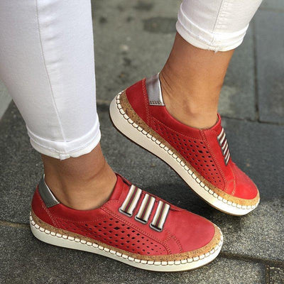 Comfortable Flat Bottom Breathable Shoes Red