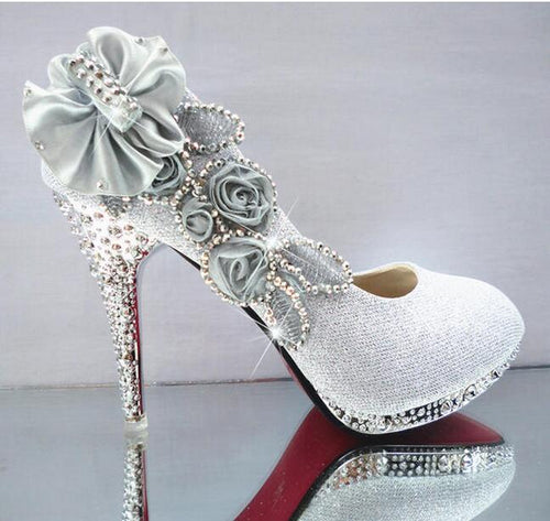 Glitter Gorgeous Wedding Bridal Evening Party Crystal High Heels - shoewho