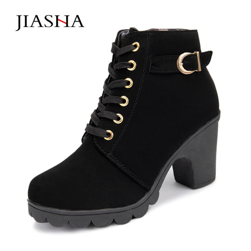 New Autumn Winter Women Boots High Quality Solid Lace-up