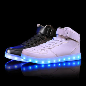 2017 New Kids Boys Girls USB Charger Led Light Shoes High Top Luminous Sneakers casual Lace Up Shoes Unisex Sports for children 1 - shoewho