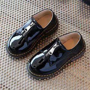 Black Patent PU Kids Boys Leather Shoes - shoewho